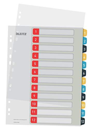 Leitz PC-beschriftbares Register in A4 Format, 1-12, Robust, Mehrfarbig, Cosy-Serie, 12480000
