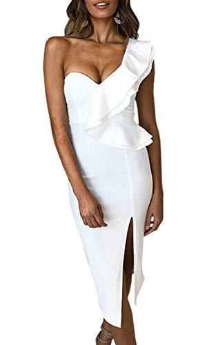 ECOWISH Women's Dresses Sexy Ruffle One Shoulder Sleeveless Split Bodycon Midi Party Dress White M
