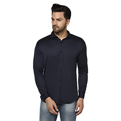 Villain Slim Fit Stretchable Casual Shirts for Mens (Full Sleeves)-Nevy Blue