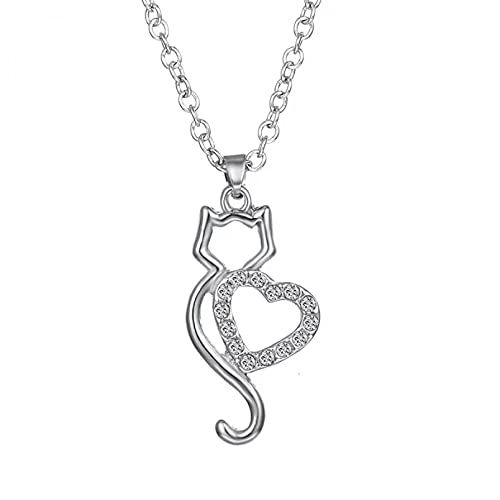 SOTUVO Collar de Acero Inoxidable de Cristal Cadenas corazón Animal Colgante Collar Gato Accesorios de joyería para Regalo de Mujer