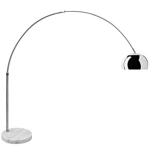 Lampada ad Arco in Alluminio con Base Rotonda in Marmo Bianco - Lampada da Terra con Struttura in Alluminio Cromato - Dimensioni 220 x 230 cm (Colore Base Bianco)