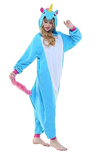 Regenboghorn Unisex Einhorn kostüme, Schlafanzug, Pyjama,für das Halloween ,Karneval und Weihnachten mit der Kapuze (L, Blau)
