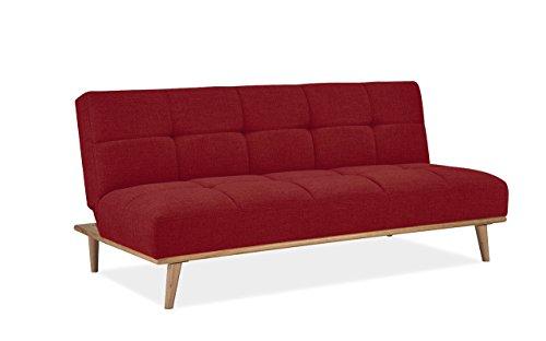 Mobilier Deco Banquette clic clac scandinave Convertible Tissu Rouge