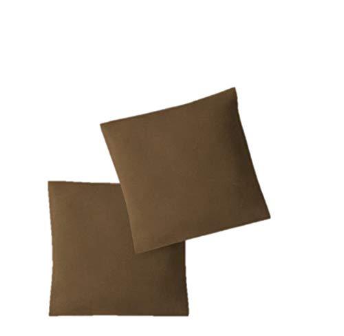 EXKLUSIV HEIMTEXTIL Fundas de Almohada de Jersey 2 Pack económico con Cremallera 40 x 40 cm marrón Chocolate