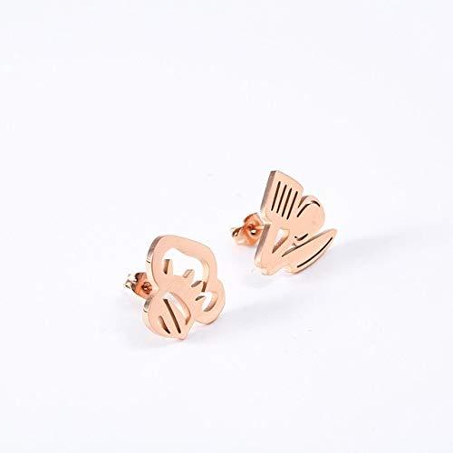 JJZCSXH Chef Studs Earrings Chef Cocinero de Acero Inoxidable Joyas Pendientes Studs incompatibles para Hombres Mujeres Regalos,Rose Gold