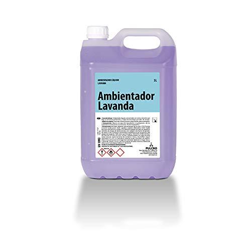 PULCRO Ambientador líquido Lavanda 5 litros. Apto Uso en hogares, restaurantes, cafeterías, hoteles, residencias, hospitales, albergues, hoteles o gimnasios.