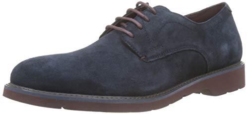 Geox U Garret A, Zapatos de Cordones Derby para Hombre, Azul (Navy/Bordeaux C4335), 41 EU