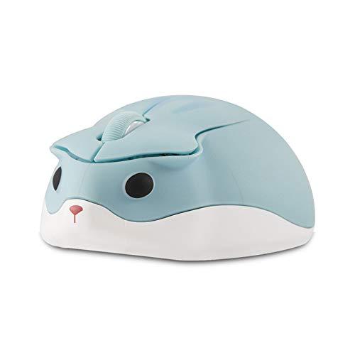 Niedliche Tier Hamster Form Wireless Silent Maus Cartoon Mini Tragbare Reise Mute 1200DPI Neuheit Optische einzigartige kleine schnurlose ruhige Mäuse für Computer Laptop-PC für Kinder Geschenk (blau)