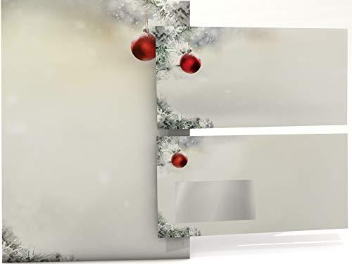 Weihnachtsbriefpapier Set   Stille Nacht   20 Blatt Motivpapier A4   20 Briefumschläge OHNE FENSTER im DIN LANG-Format   Briefpapier Set