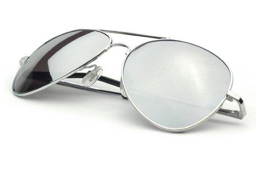 Klassische Pilotenbrille Fliegerbrille Spiegelbrille Pornobrille Sonnenbrille Polizei Brille silber verspiegelt Unisex Herren Damen Männer Frauen X02