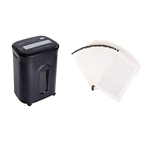 Amazon Basics - Trituradora de corte cruzado para tarjetas de crédito, CD y papel, para 15 hojas + Hojas para lubricar y afilar trituradoras - Pack de 24