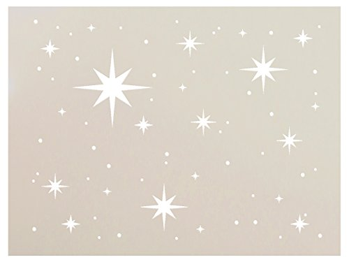 Twinkle Stars Stencil by StudioR12 | Fun Elegant | Reusable Mylar Template | Painting, Chalk, Mixed Media | Use for DIY Home & Nursery Decor | Select Size (8' x 6')