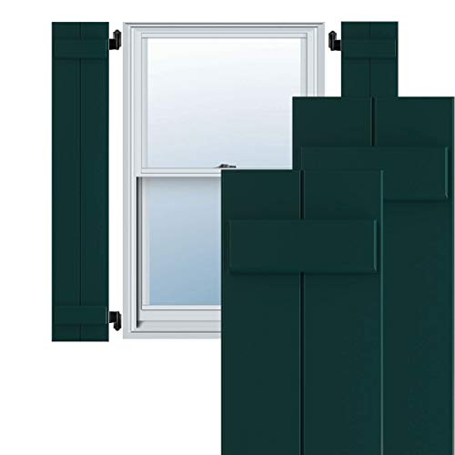 """Ekena Millwork TFP101BBF11X075FG True Fit PVC Joined Board-n-Batten Shutters (Per Pair - Hardware Not Included), 10 3/4""""W x 75""""H, Thermal Green -  CWB12X075DGC"""
