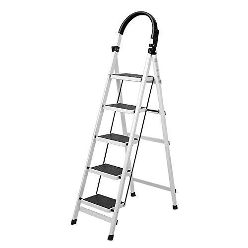 XHSSF Haushaltsleiter trittleiter Stahl Mehrzweckleiter klappleiter stehleiter mit Werkzeugständer Verbreiterte Pedallast 150 kg-Weiß_5 Schritte