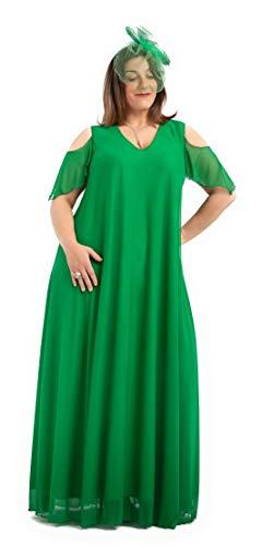 PARAISO CURVY Vestido de Fiesta Verde Brillante para Tallas Extra Grandes, Fabricado en España con el Tul-Lycra de Gimnasia rítmica, para Que disfrutes una Comodidad máxima. (64)