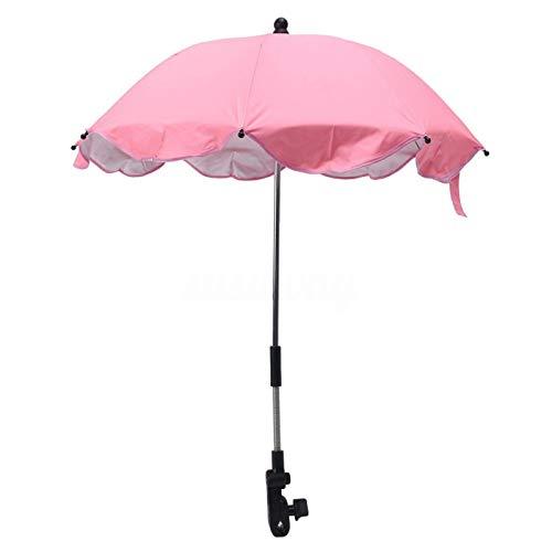 Paraguas de cochecito de bebé, 360° ajustable protección UV paraguas con clips desmontables, sombrilla plegable para cochecito de bebé y silla de playa (rosa)