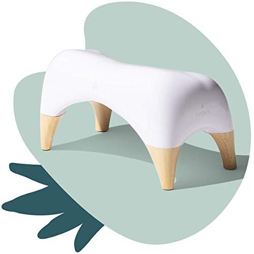 TUSHY Ottoman Relaxed - Premium Toilet Stool for Bathroom - Modern Sleek Design - White/Bamboo, Tall
