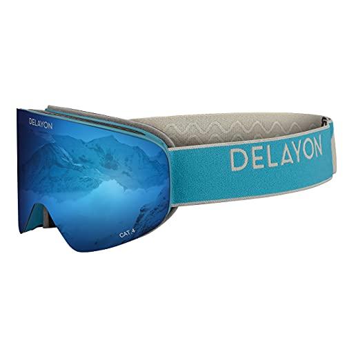 DELAYON Unisex Skibrille Snowboardbrille CORE 2.0, magnetisch (Navy/Grey, Space Blue)