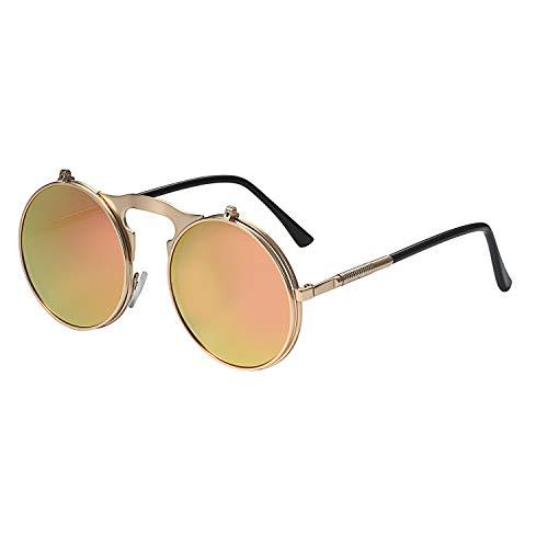 Aroncent Steampunk Occhiali da sole rotondi, vintage, con bordo in metallo, montatura in metallo, lenti Flip up, Uomo, Donna e Tipo di metallo, colore: Colore: rosa., cod. AR060027