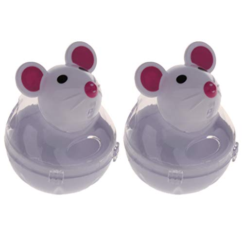 Homyl 2 Stück Maus Form Stehauf Futterspender Futterspielzeug Snackball Lebensmittel Dispenser Interaktives Spielzeug für Katzen - Weiß