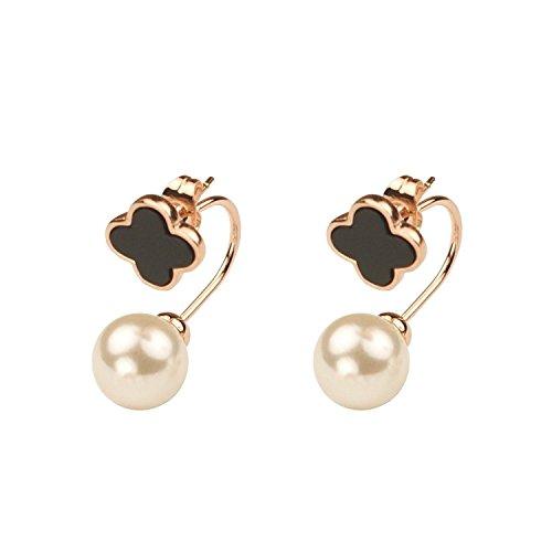 Schwarz Emaille Clover White Pearl Rose Vergoldet Double Way Ohrstecker–Gute Qualität
