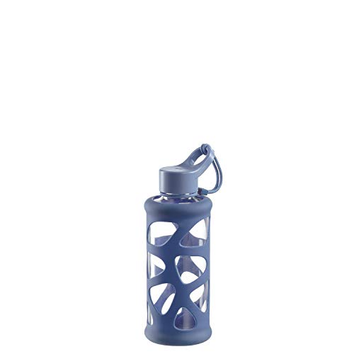 Leonardo Trinkflasche In Giro 500 ml, To Go, Borosilikatglas, Schutzhülle, spülmaschinenfest, stoßfest blau,029236