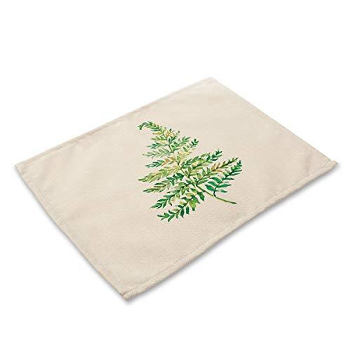 Tafelset van grove katoenen linnen, set met 6 tafelkleden, planten, drukfolie, katoen, linnen, hittebestendig, afwasbaar, mat tafel B