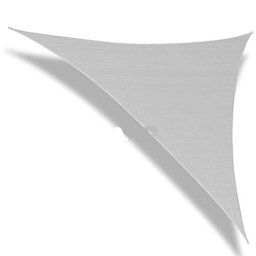 Patio Paradise 8' x 8' x 8' Light Grey Sun Shade Sail Equilateral Triangle Canopy, 180 GSM Permeable Canopy Pergolas Top Cover, Permeable UV Block Fabric Durable Outdoor, Customized Available