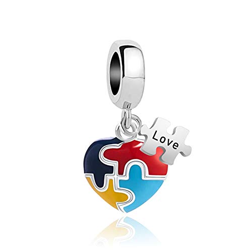 Lifequeen Jewellery 925 Sterling Silver Heart Love Autism Awareness Charms Puzzle Piece Enamel for Bracelets
