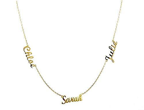 Gaosh Namenskette 925 Sterling Silber - Personalisiert mit Ihrem eigenen 3 Namen mit Herzform beliebiger Name für Damen Geburtstag Valentinstag Jahrestag Vatertag Damen Schmuck (Gold)