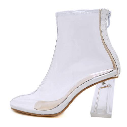 PIAOLDXZ Stiefel Transparent PVC High Heels Stiefeletten Herbst Reißverschluss Geleestiefel Frauen...