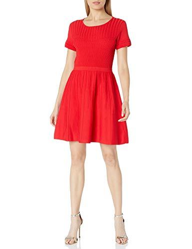 Parker Women's Hamilton Fit-n-Flare Knit Dress, Ruby, S