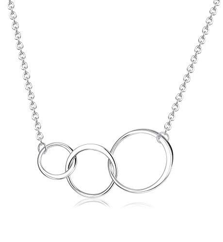 Sllaiss 925 Sterling Silber Generationen Halskette für Oma Mutter Tochter 3 Kreise Anhänger Halskette Schmuck Geburtstagsgeschenk