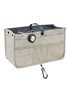 Dahlia s Patented Handbag Purse Organizer Insert - STURDY Flexible Tan