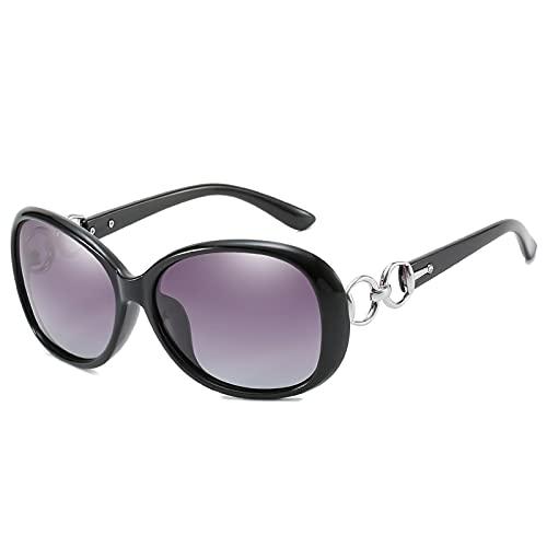PSFF Gafas de Sol polarizadas Negras, protección UV400, Gafas de Sol de conducción de Marco Oval Retro, Opcional Multicolor Black