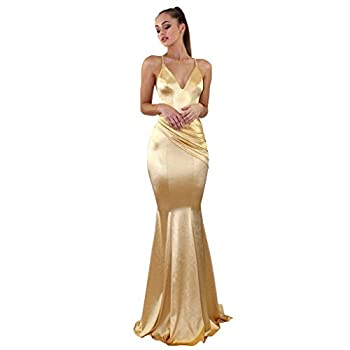 FORESTIME Summer Dresses for Women 2021,Women Lace Sequin Evening Party Ball Prom Cocktail Wedding Dress,Ladies Formal Elegant Dresses Gold,X-Large