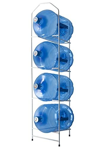 HODS HOME OFFICE DELIVERY SERVICES Botellero metálico para hasta 4 garrafas de Grandes formatos de Agua. Estantería Blanca Fabricada en Metal para botellones
