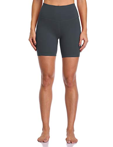 """Colorfulkoala Women's High Waisted Biker Shorts with Pockets 6"""" Inseam Workout & Yoga Tights (M, Charcoal Grey)"""