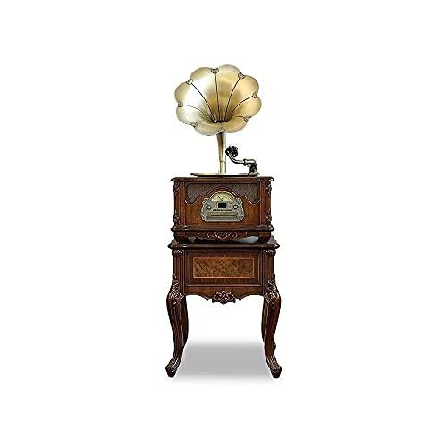ZSMLB Music Box Home Retro Phonograph Modern LP Giradischi in Vinile Altoparlanti, Bluetooth, Ingresso USB TF Card, Jack per Cuffie Radio FM per intrattenimento Decorazione della casa