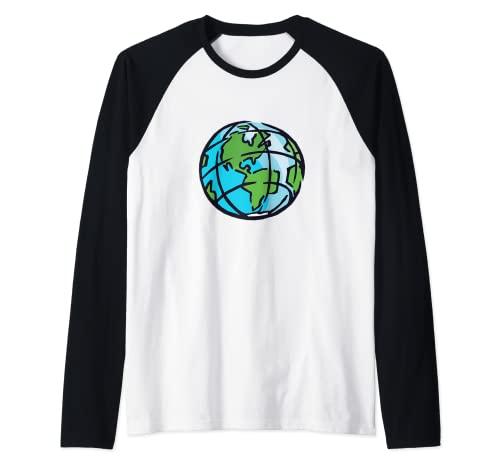Tierra Spinning Planeta Eje Norte Polo Sur Camiseta Manga Raglan