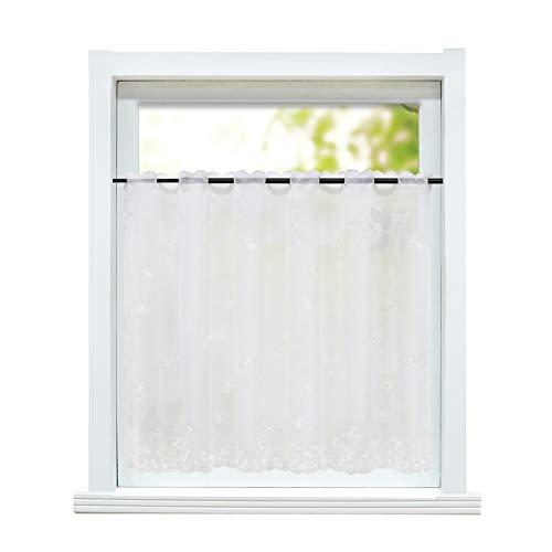 ESLIR Visillo rústico para cocina, cortinas transparentes con bordado, visillo corto, 1 pieza, 100% poliéster, Blanco, flores., HxB 75x120cm