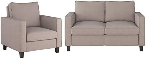 CorLiving Georgia Beige Fabric Loveseat Accent Sofa Se 100% quality warranty All stores are sold and Chair