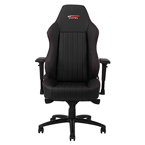Silla de oficina GT Omega Racing, modelo EVO XL, de piel, color negro, estilo deportivo, para gaming
