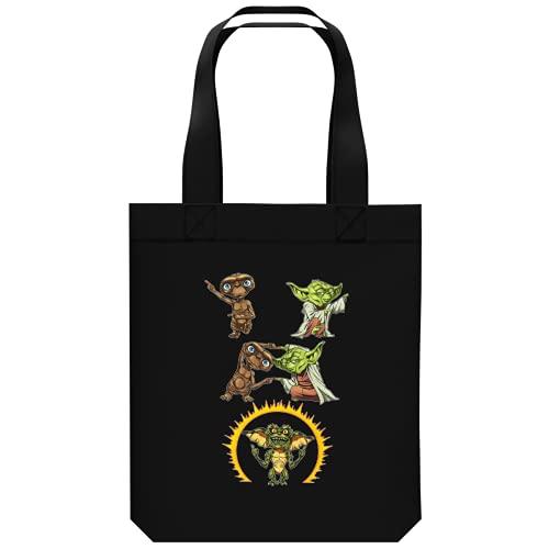 OKIWOKI Star Wars - Gremlins - ET Lustiges Shipper aus Bio-Baumwolle - Yoda und E.T. Der Außerirdische and Spike Gremlin (Star Wars - Gremlins - ET Parodie signiert Hochwertiges Tote Bag - Ref : 1