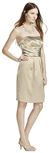 David's Bridal Short Charmeuse Bridesmaid Dress with Ruched Waist and Pocket Style 83707. Champagne