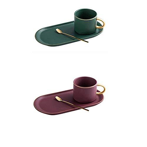 Taza De Navidad Cerámica Con Borde Dorado Tazas De Café Taza Y Platillos Juegos De Cucharas, Té Leche De Soja Tazas De Desayuno Plato De Postre (Rojo + verde)