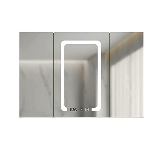 FLAMY Armarios con Espejo para baño,Armario de Medicina con luz LED,desempañador,Tres Puertas...