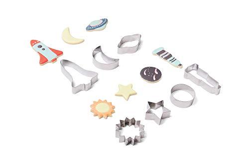 Fox Run 3700 Astronomy Cookie Cutters Set of 7, Stainless Steel, Rocket, Telescope, Moon, Sun, Saturn, Earth, Star