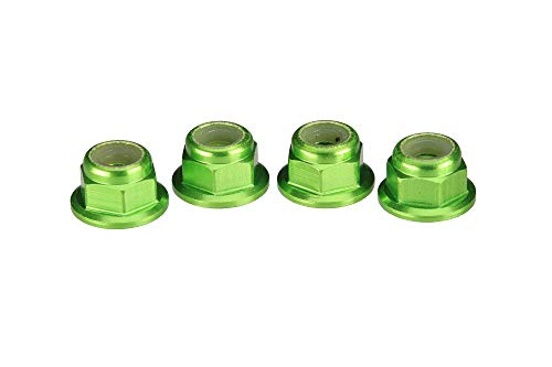 Traxxas 1747G Green-Anodized Aluminum Flanged and Serrated Lock Nuts (set of 4)
