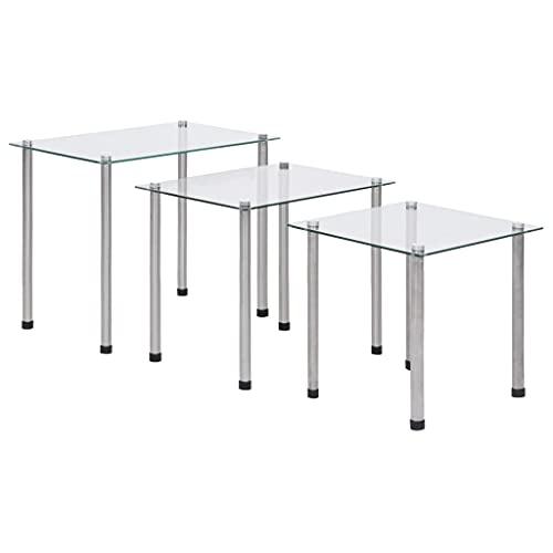 Nido de mesas, Mesas auxiliares apilables Mesas de Centro Nido Juego de Mesa Auxiliar para sofá Mesas Nido 3 Piezas Vidrio Templado Transparente ✅